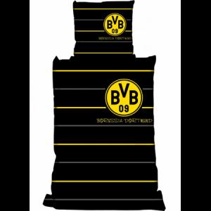 bertels-fussball-bundesliga-linon-kinder-bettwaesche-2-teilig-bettbezug-135-x-200-cm-kopfkissenbezug-80-x-80-cm-bvb-borussia-dortmund-polostreifen